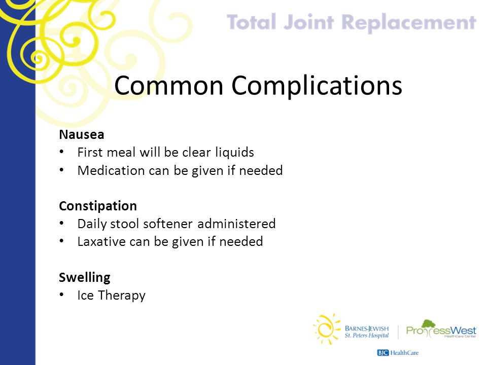 Common Complications Nausea First meal will be clear liquids Medication can be given if needed Constipation Daily stool softener administered Laxative