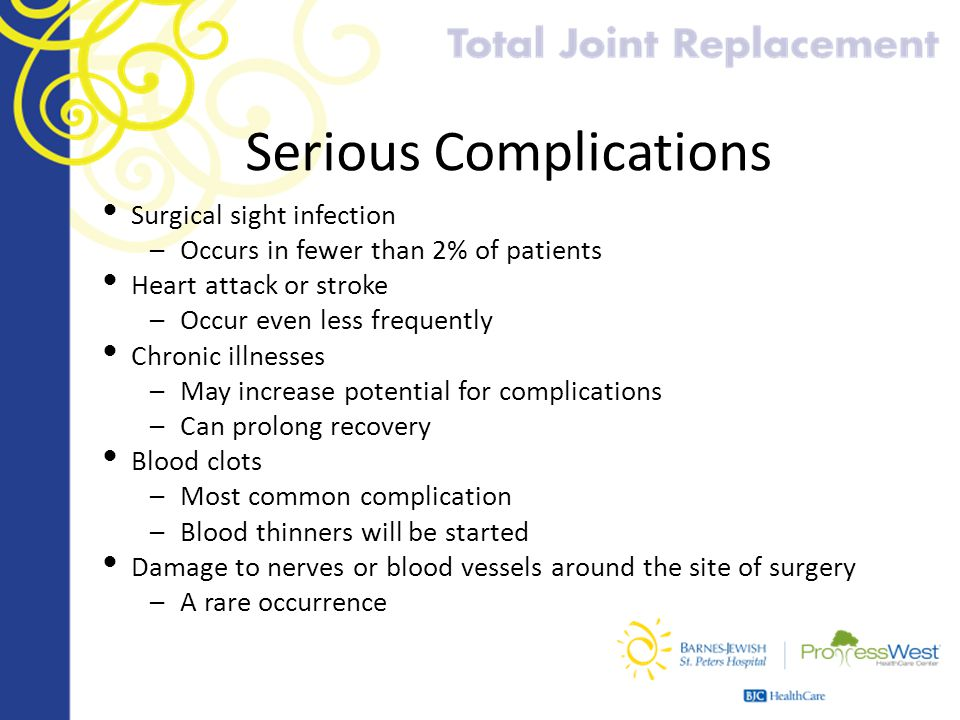 Serious Complications Surgical sight infection –Occurs in fewer than 2% of patients Heart attack or stroke –Occur even less frequently Chronic illness