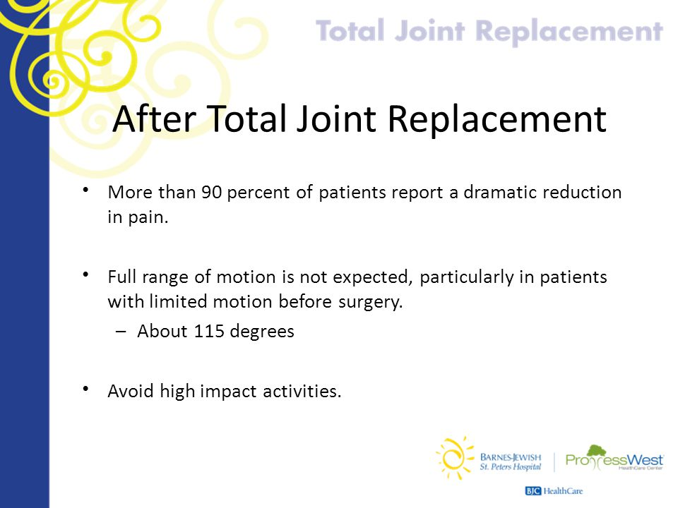 After Total Joint Replacement More than 90 percent of patients report a dramatic reduction in pain. Full range of motion is not expected, particularly