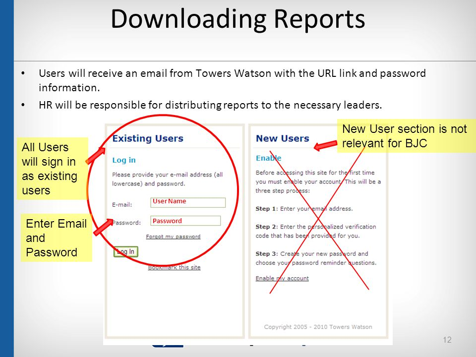 Downloading Reports Users will receive an email from Towers Watson with the URL link and password information.