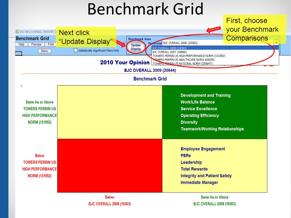 Benchmark Grid 26 First, choose your Benchmark Comparisons Next click Update Display