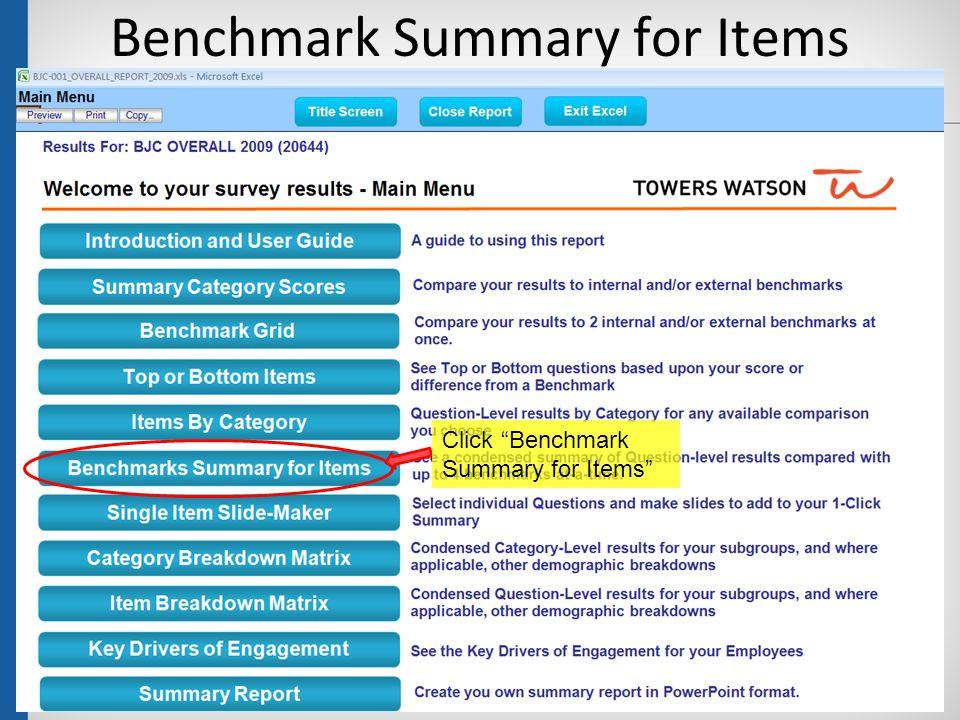 """Benchmark Summary for Items 39 Click """"Benchmark Summary for Items"""""""