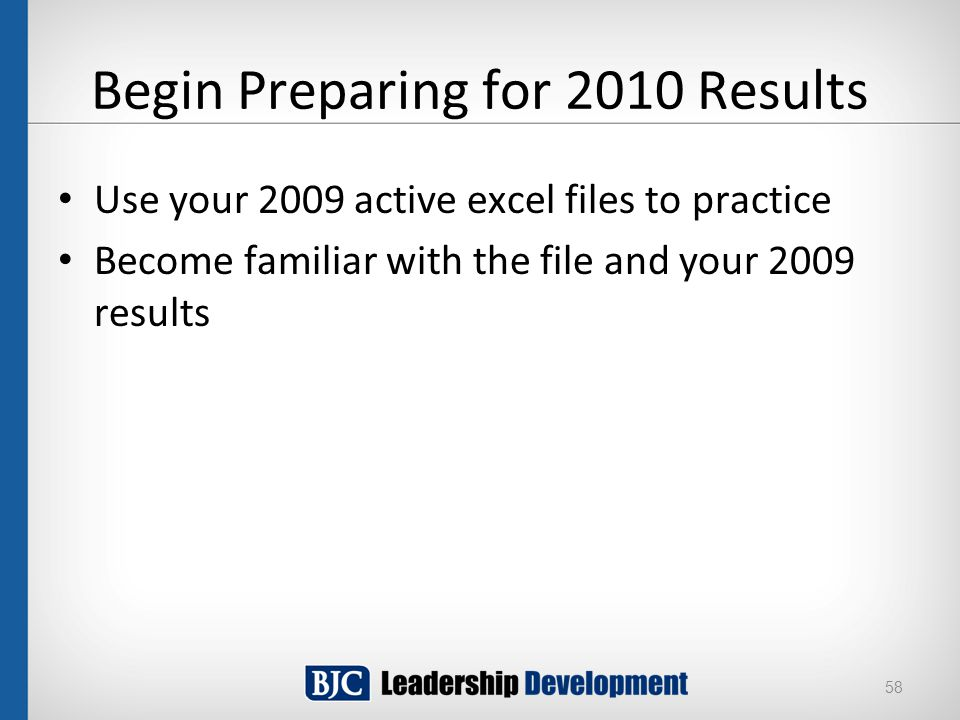 Begin Preparing for 2010 Results Use your 2009 active excel files to practice Become familiar with the file and your 2009 results 58