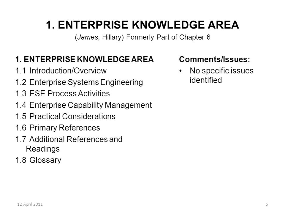 12 April 20115 1. ENTERPRISE KNOWLEDGE AREA (James, Hillary) Formerly Part of Chapter 6 1. ENTERPRISE KNOWLEDGE AREA 1.1Introduction/Overview 1.2Enter