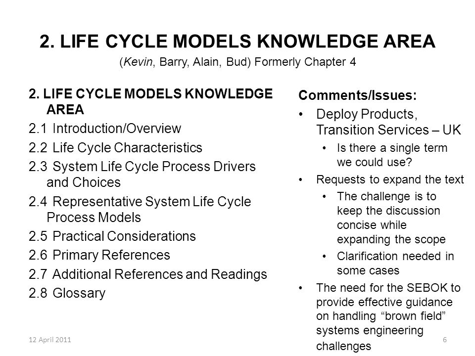 12 April 20117 3.SYSTEM DEFINITION KNOWLEDGE AREA (Alain, Garry) Formerly Chapter 9 3.