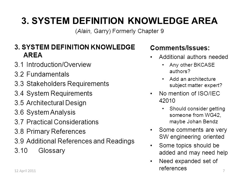 12 April 20117 3. SYSTEM DEFINITION KNOWLEDGE AREA (Alain, Garry) Formerly Chapter 9 3. SYSTEM DEFINITION KNOWLEDGE AREA 3.1Introduction/Overview 3.2F