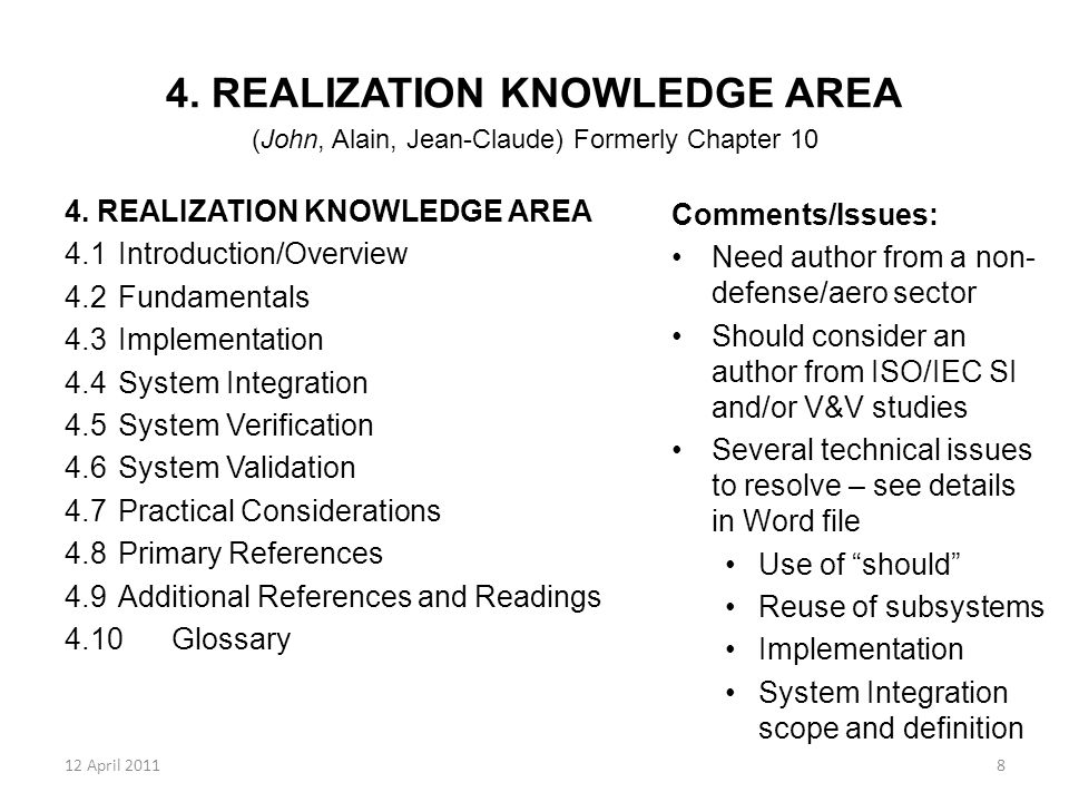 12 April 20119 5.DEPLOYMENT AND USE KNOWLEDGE AREA (Brian Gallagher) Formerly Chapter 11 5.