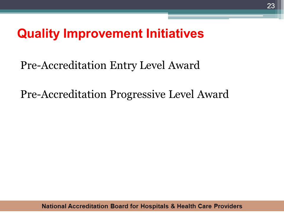 National Accreditation Board for Hospitals & Health Care Providers Quality Improvement Initiatives Pre-Accreditation Entry Level Award Pre-Accreditati