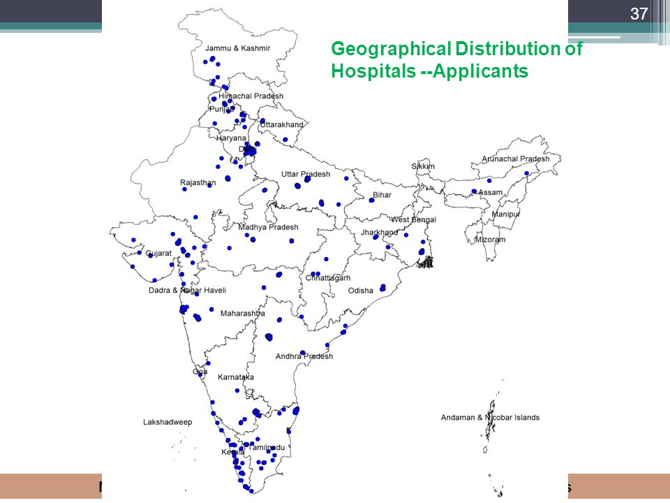 National Accreditation Board for Hospitals & Health Care Providers 37 Geographical Distribution of Hospitals --Applicants