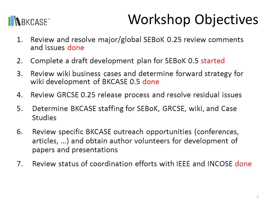 Workshop Objectives 1.Review and resolve major/global SEBoK 0.25 review comments and issues done 2.Complete a draft development plan for SEBoK 0.5 started 3.Review wiki business cases and determine forward strategy for wiki development of BKCASE 0.5 done 4.Review GRCSE 0.25 release process and resolve residual issues 5.Determine BKCASE staffing for SEBoK, GRCSE, wiki, and Case Studies 6.Review specific BKCASE outreach opportunities (conferences, articles, …) and obtain author volunteers for development of papers and presentations 7.Review status of coordination efforts with IEEE and INCOSE done 3