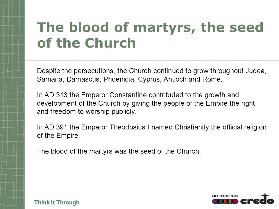 The blood of martyrs, the seed of the Church Despite the persecutions, the Church continued to grow throughout Judea, Samaria, Damascus, Phoenicia, Cyprus, Antioch and Rome.