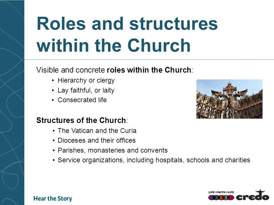 Roles and structures within the Church Visible and concrete roles within the Church: Hierarchy or clergy Lay faithful, or laity Consecrated life Struc