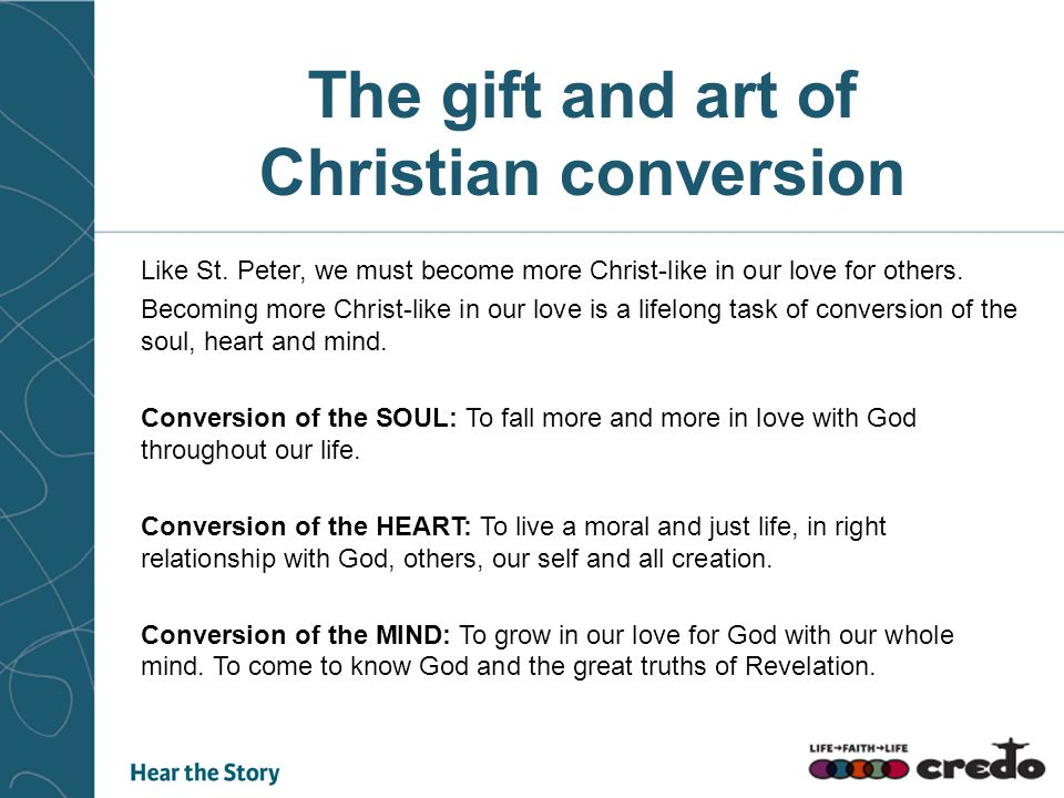 Like St.Peter, we must become more Christ-like in our love for others.