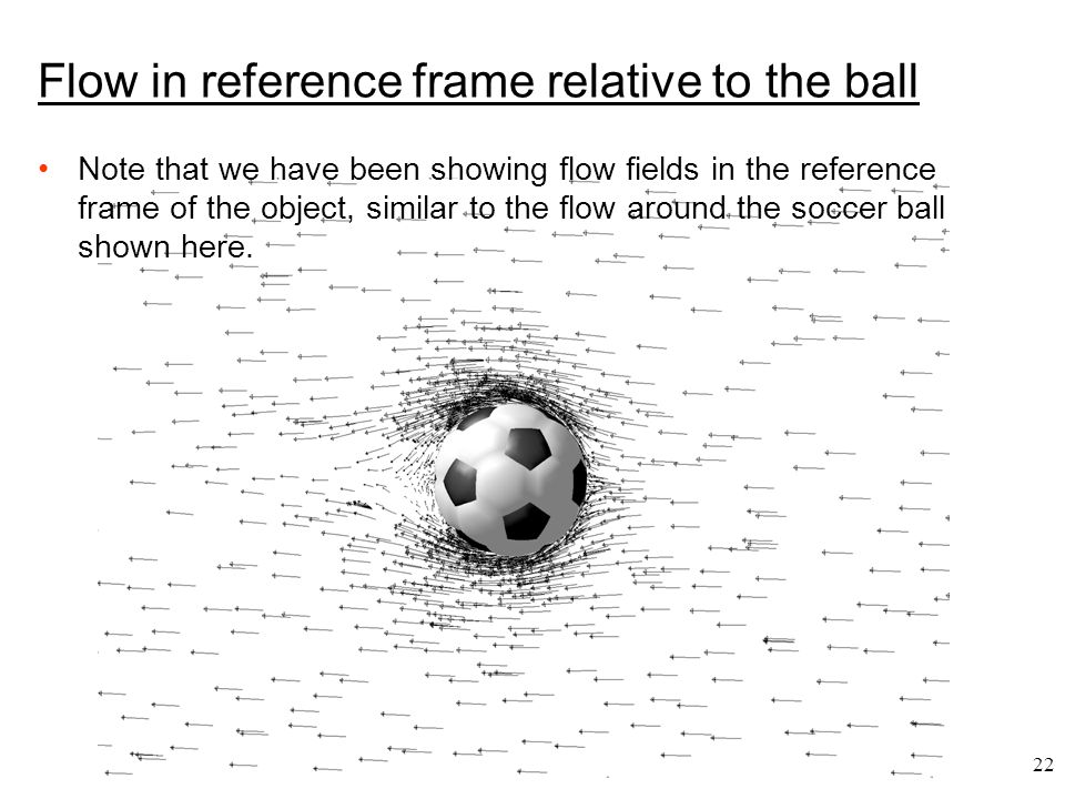 22 Flow in reference frame relative to the ball Note that we have been showing flow fields in the reference frame of the object, similar to the flow a