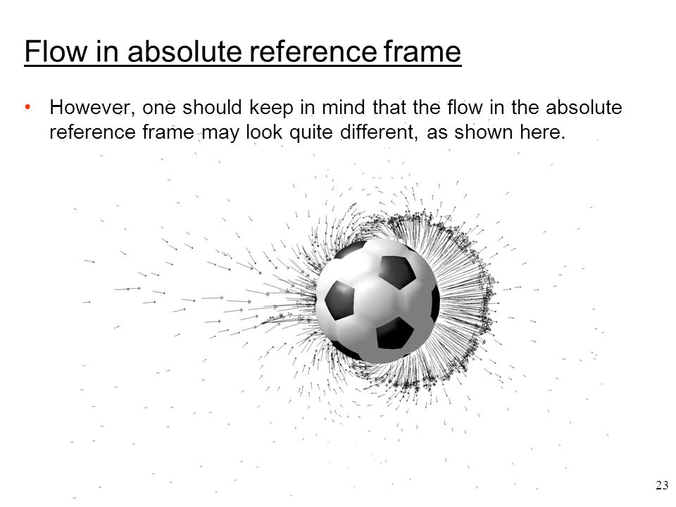 23 Flow in absolute reference frame However, one should keep in mind that the flow in the absolute reference frame may look quite different, as shown