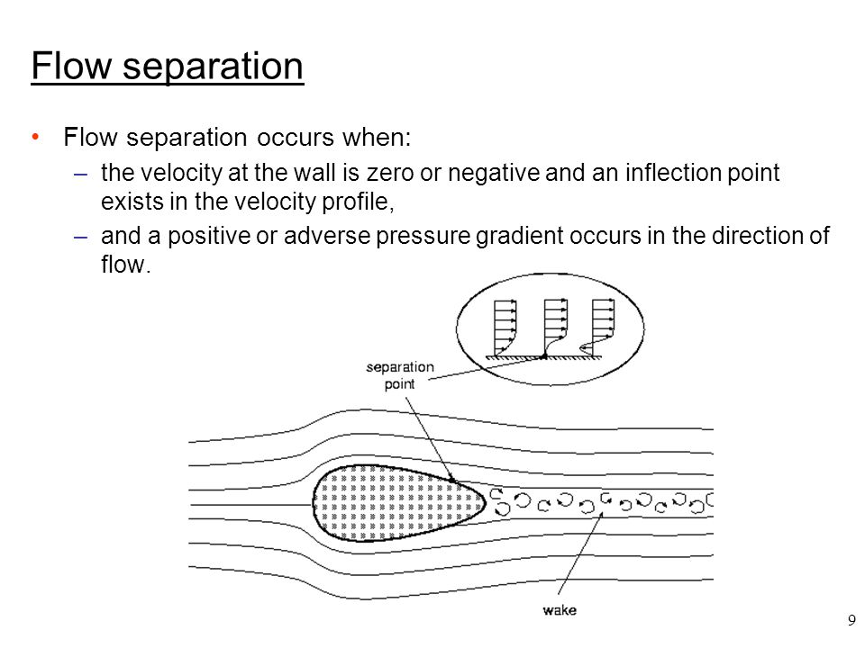 9 Flow separation Flow separation occurs when: –the velocity at the wall is zero or negative and an inflection point exists in the velocity profile, –