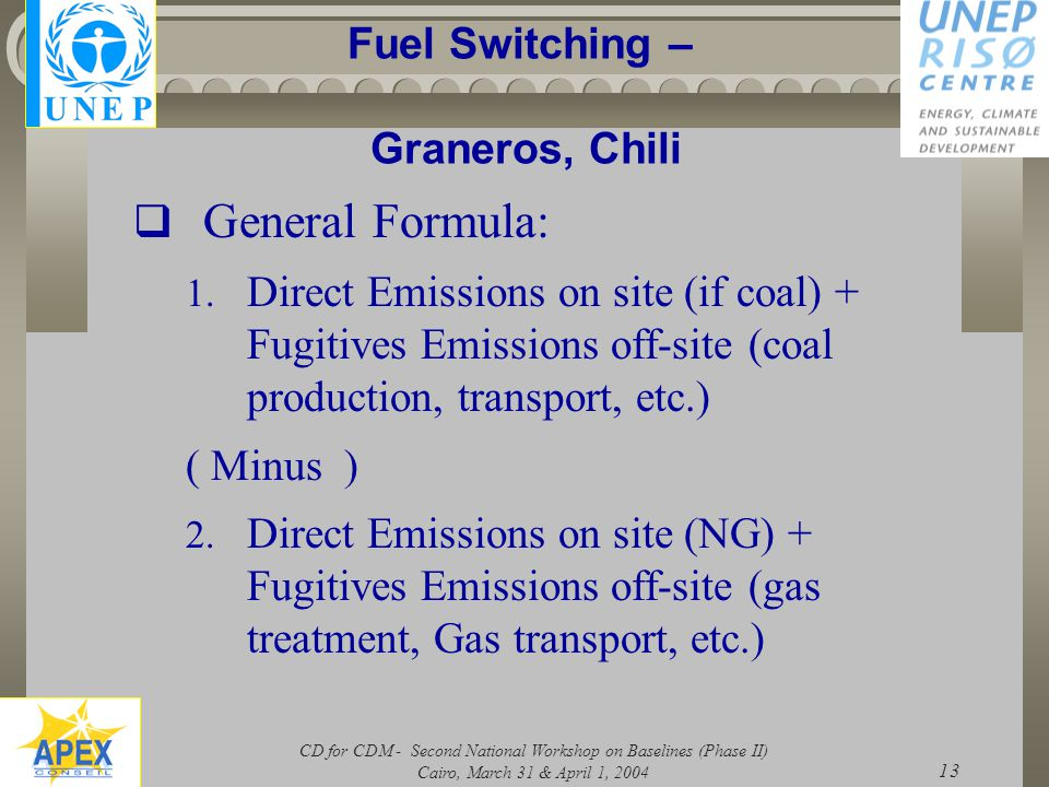 CD for CDM - Second National Workshop on Baselines (Phase II) Cairo, March 31 & April 1, 2004 13 Fuel Switching – Graneros, Chili  General Formula: 1.
