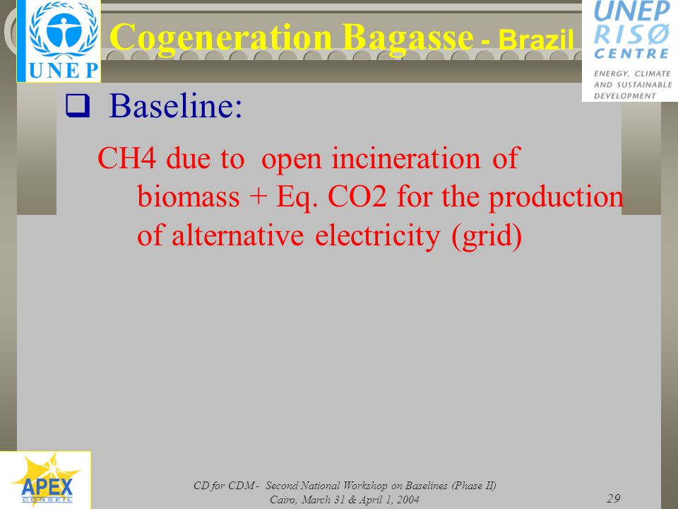 CD for CDM - Second National Workshop on Baselines (Phase II) Cairo, March 31 & April 1, 2004 29 Cogeneration Bagasse - Brazil  Baseline: CH4 due to open incineration of biomass + Eq.