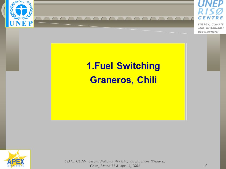 CD for CDM - Second National Workshop on Baselines (Phase II) Cairo, March 31 & April 1, 2004 4 1.Fuel Switching Graneros, Chili