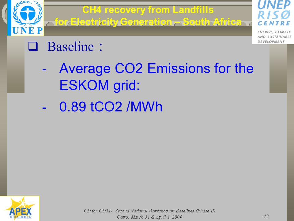 CD for CDM - Second National Workshop on Baselines (Phase II) Cairo, March 31 & April 1, 2004 42 CH4 recovery from Landfills for Electricity Generation – South Africa  Baseline : - Average CO2 Emissions for the ESKOM grid: - 0.89 tCO2 /MWh