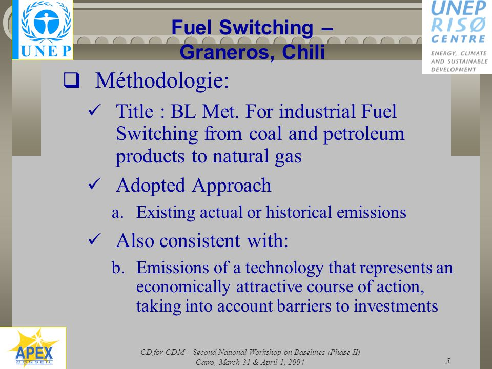 CD for CDM - Second National Workshop on Baselines (Phase II) Cairo, March 31 & April 1, 2004 5 Fuel Switching – Graneros, Chili  Méthodologie: Title : BL Met.