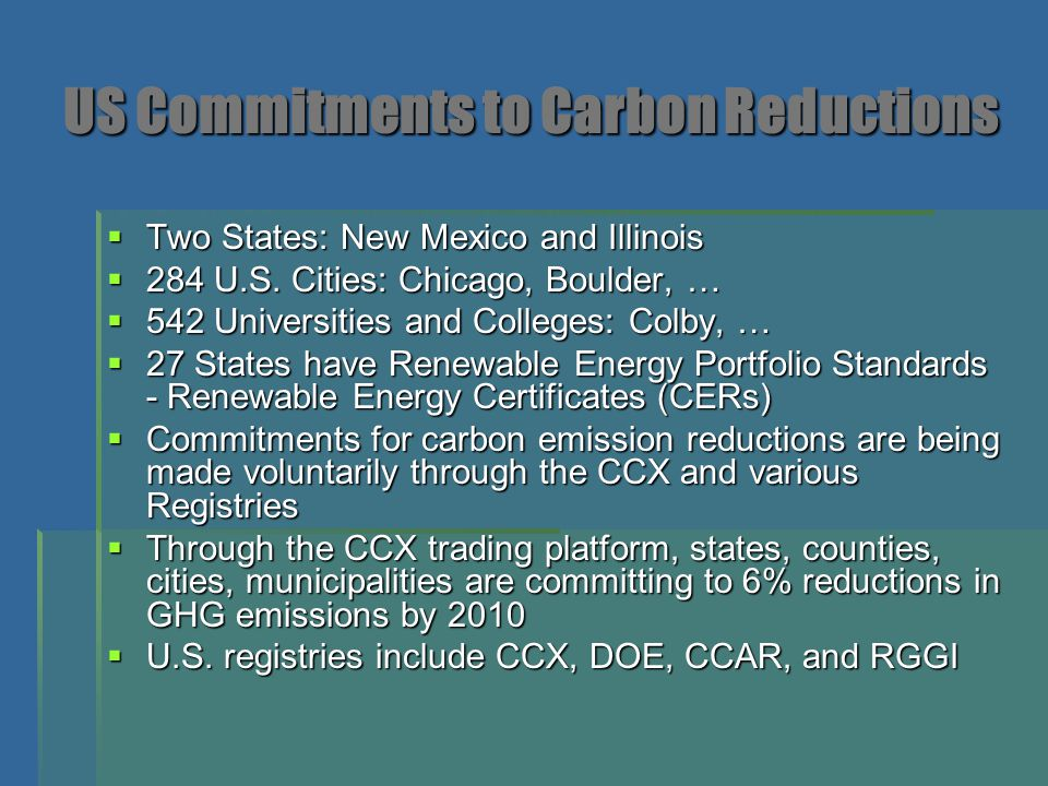 US Commitments to Carbon Reductions  Two States: New Mexico and Illinois  284 U.S. Cities: Chicago, Boulder, …  542 Universities and Colleges: Colb