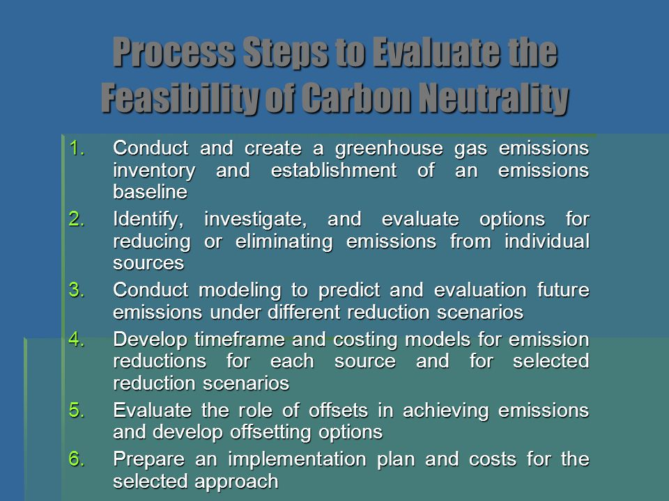 Process Steps to Evaluate the Feasibility of Carbon Neutrality 1.Conduct and create a greenhouse gas emissions inventory and establishment of an emiss