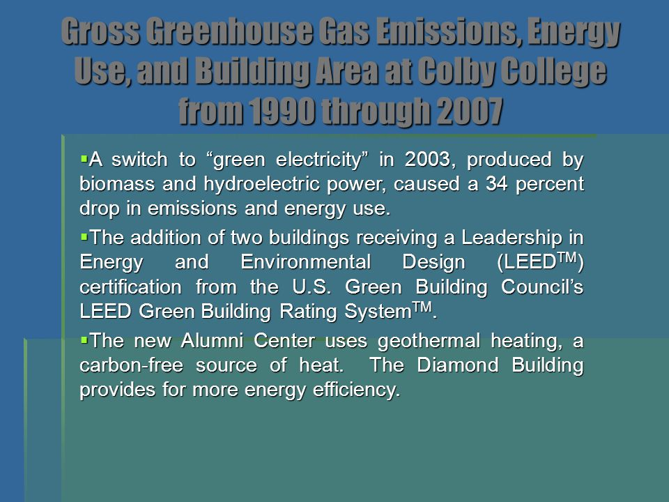 "Gross Greenhouse Gas Emissions, Energy Use, and Building Area at Colby College from 1990 through 2007  A switch to ""green electricity"" in 2003, produ"