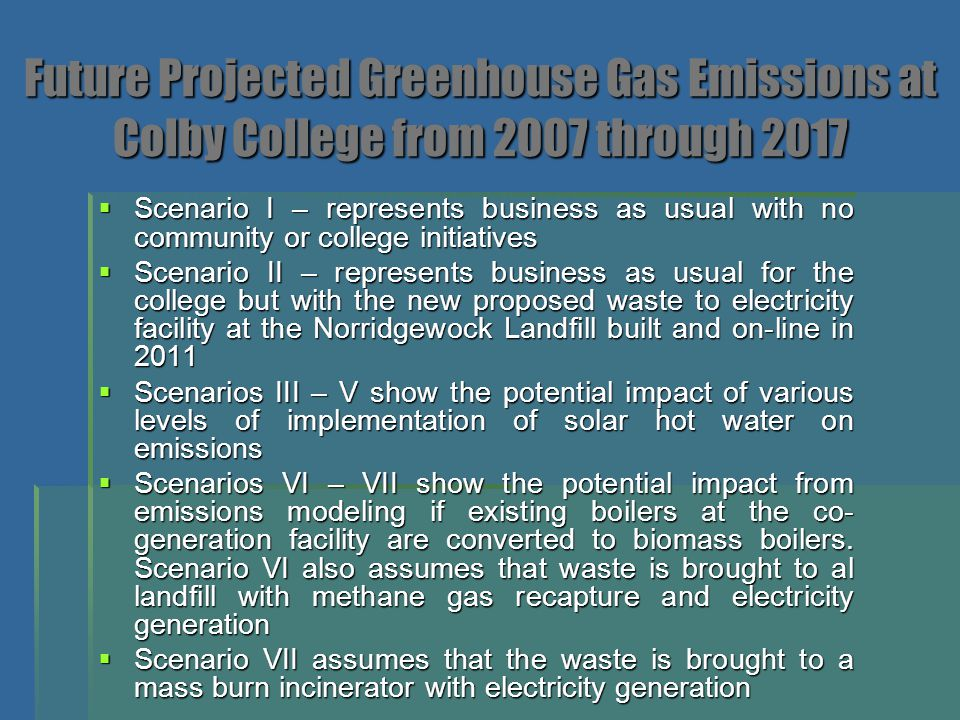 Future Projected Greenhouse Gas Emissions at Colby College from 2007 through 2017  Scenario I – represents business as usual with no community or col