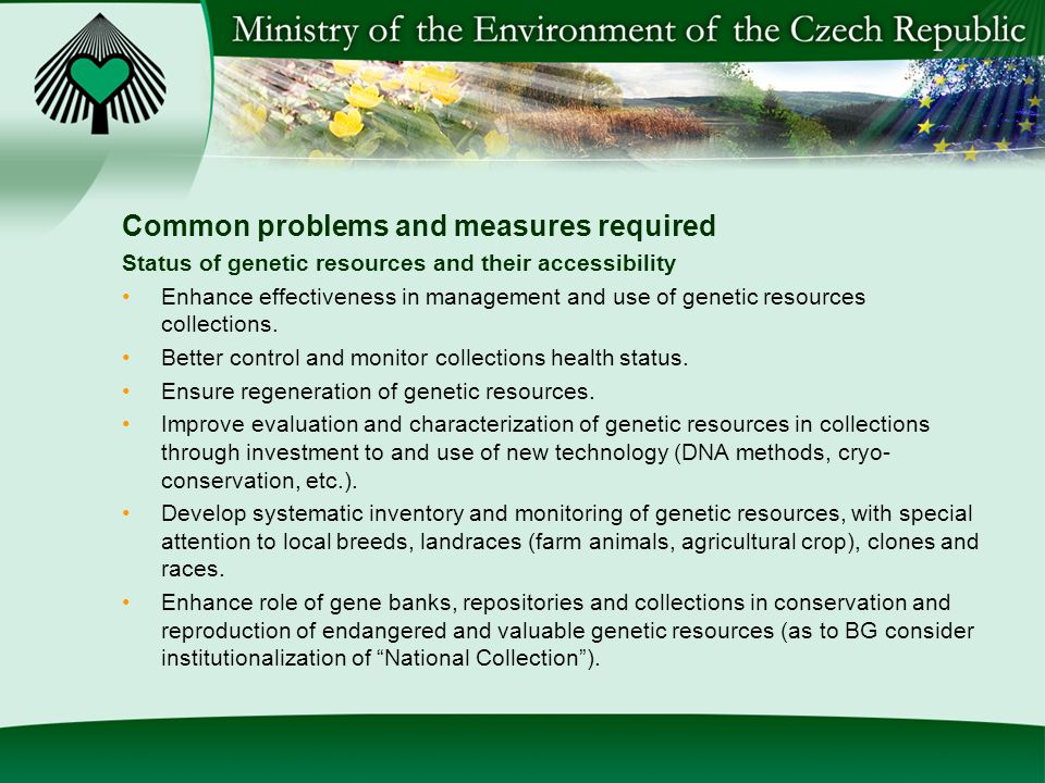 Common problems and measures required Status of genetic resources and their accessibility Enhance effectiveness in management and use of genetic resources collections.