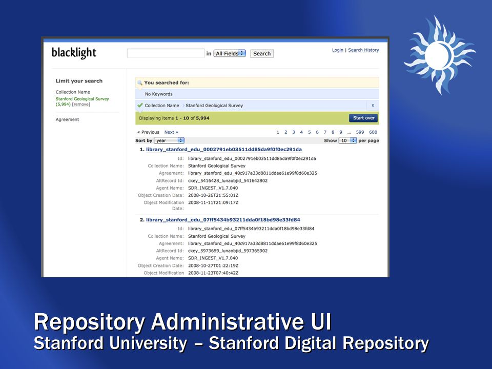 Repository Administrative UI Stanford University – Stanford Digital Repository