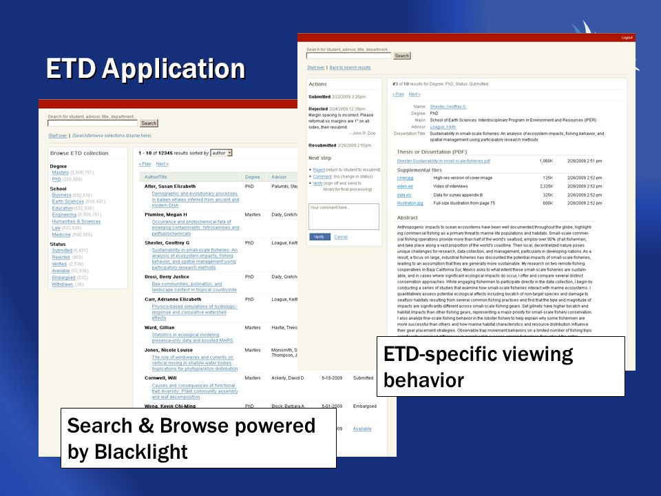 ETD Application Search & Browse powered by Blacklight ETD-specific viewing behavior