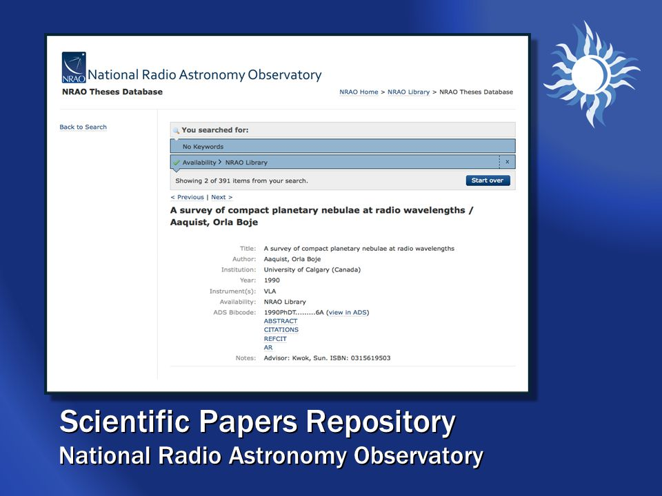 Scientific Papers Repository National Radio Astronomy Observatory