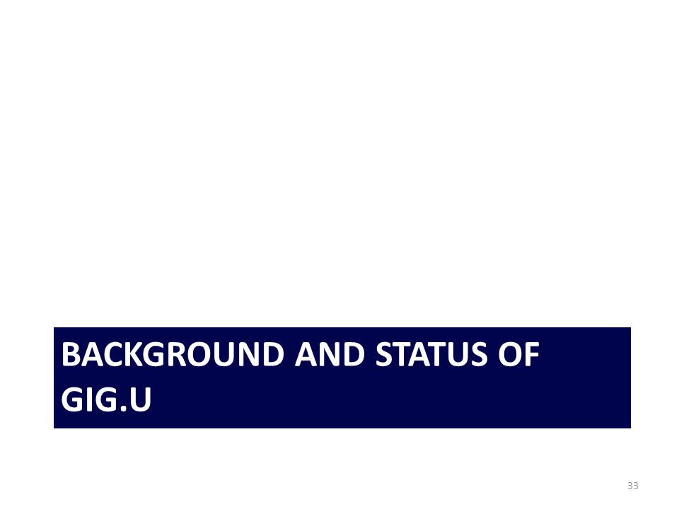 BACKGROUND AND STATUS OF GIG.U 33