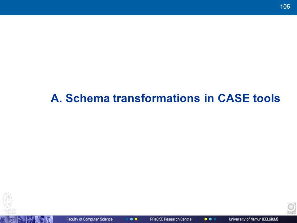 105 A. Schema transformations in CASE tools