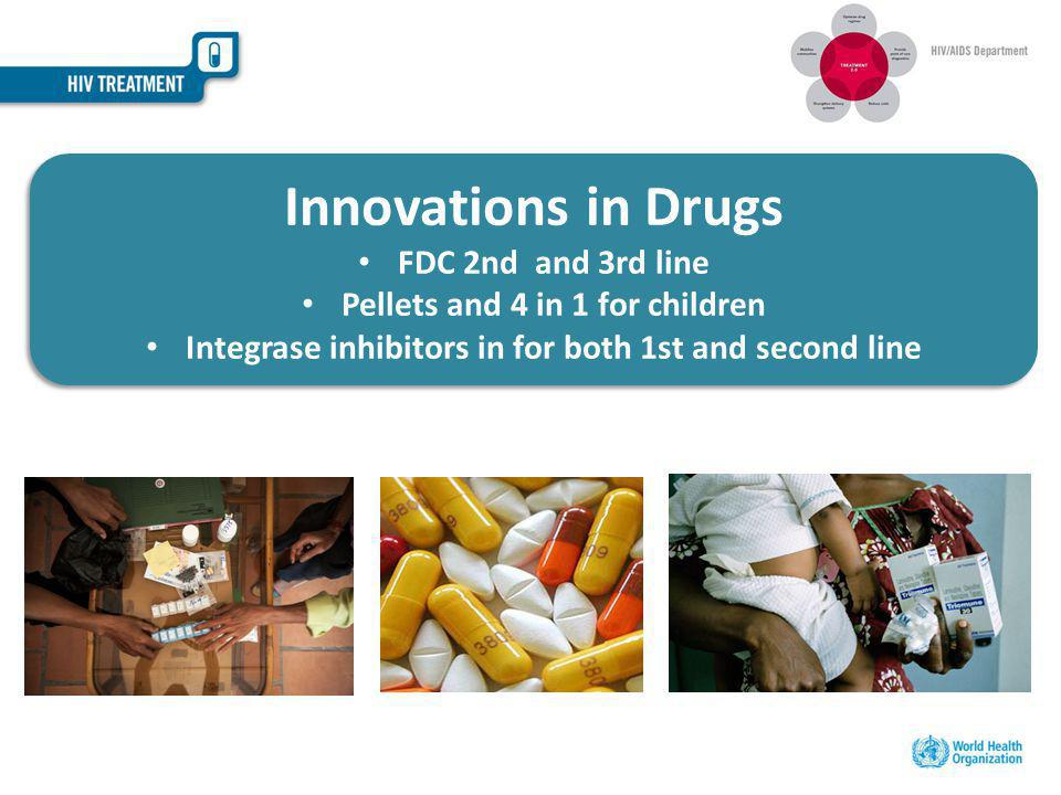 Innovations in Drugs FDC 2nd and 3rd line Pellets and 4 in 1 for children Integrase inhibitors in for both 1st and second line Innovations in Drugs FDC 2nd and 3rd line Pellets and 4 in 1 for children Integrase inhibitors in for both 1st and second line