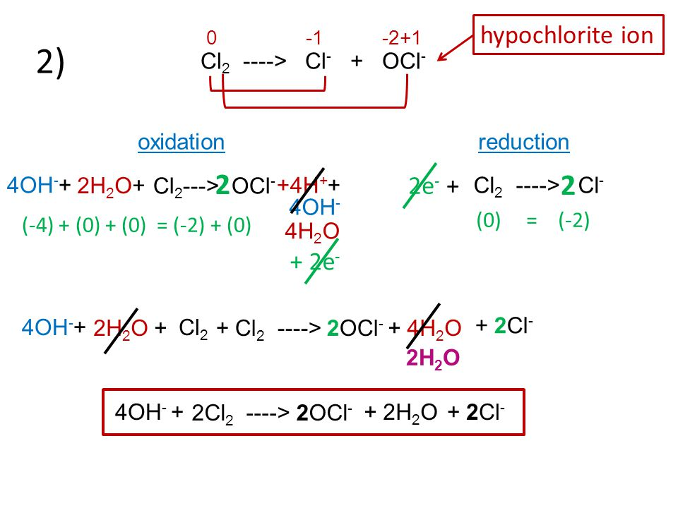 Cl 2 ----> Cl - + OCl - 0 -1 -2+1 oxidation reduction 2) Cl 2 ---> OCl - Cl 2 ----> Cl - 2 2 2H 2 O+ +4H + + 4OH - 4OH - + 4H 2 O (-4) + (0) + (0) = (