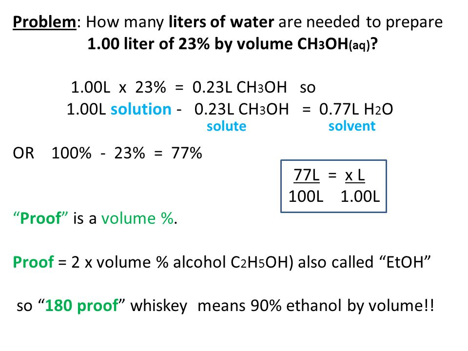 Problem: How many liters of water are needed to prepare 1.00 liter of 23% by volume CH 3 OH (aq) ? 1.00L x 23% = 0.23L CH 3 OH so 1.00L solution - 0.2