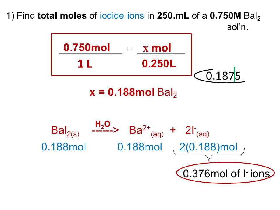 1) Find total moles of iodide ions in 250.mL of a 0.750M BaI 2 sol'n. ____________ = _________ 0.750mol 1 L x mol 0.250L BaI 2(s) ------> Ba 2+ (aq) +
