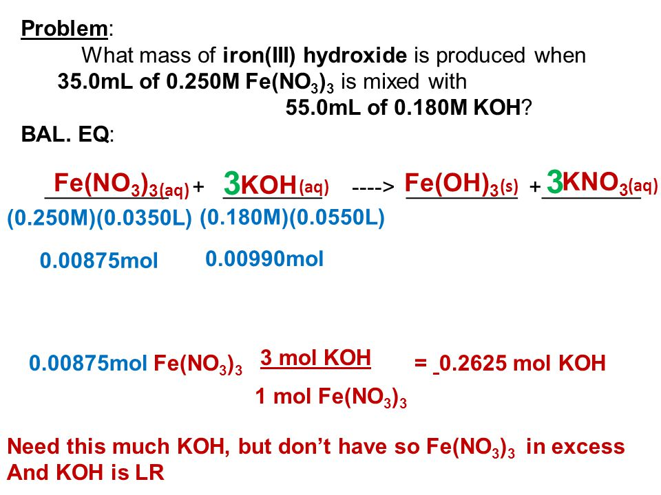 Problem: What mass of iron(III) hydroxide is produced when 35.0mL of 0.250M Fe(NO 3 ) 3 is mixed with 55.0mL of 0.180M KOH? BAL. EQ: __________ + ____