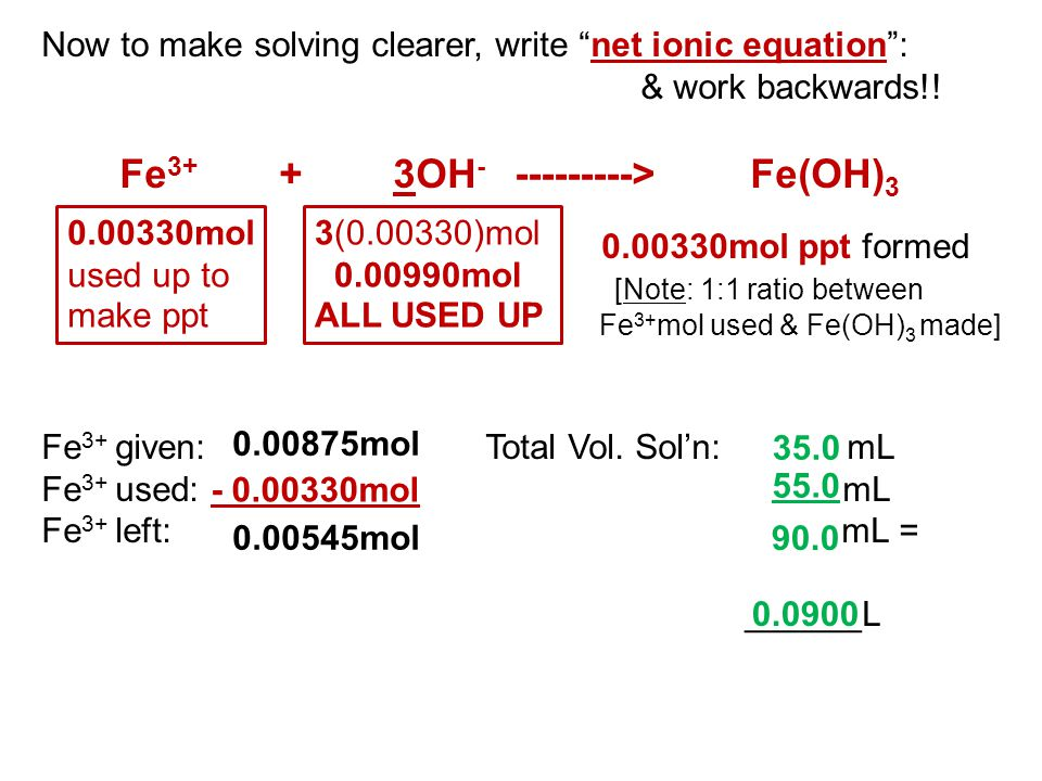 "Now to make solving clearer, write ""net ionic equation"": & work backwards!! Fe 3+ + 3OH - ---------> Fe(OH) 3 0.00330mol ppt formed [Note: 1:1 ratio b"