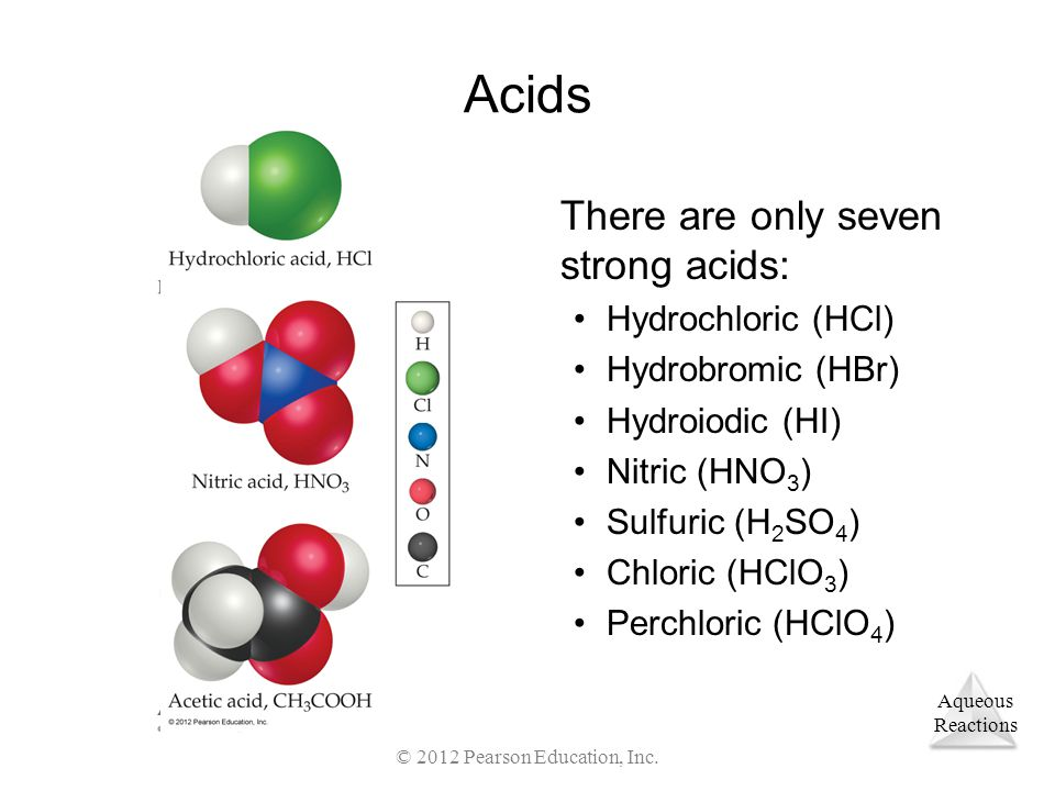 Aqueous Reactions © 2012 Pearson Education, Inc. Acids There are only seven strong acids: Hydrochloric (HCl) Hydrobromic (HBr) Hydroiodic (HI) Nitric