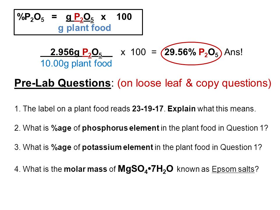 %P 2 O 5 = g P 2 O 5 x 100 g plant food 2.956g P 2 O 5 __ x 100 = 29.56% P 2 O 5 Ans! 10.00g plant food Pre-Lab Questions: (on loose leaf & copy quest