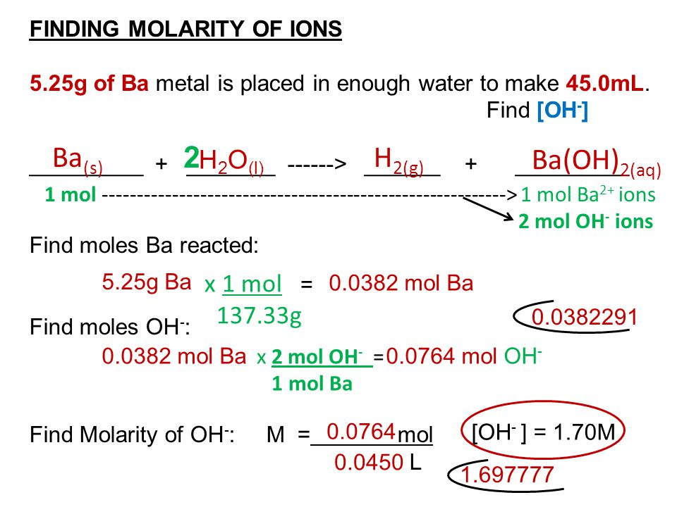 FINDING MOLARITY OF IONS 5.25g of Ba metal is placed in enough water to make 45.0mL. Find [OH - ] _________ + _______ ------> ______ + _________ Find