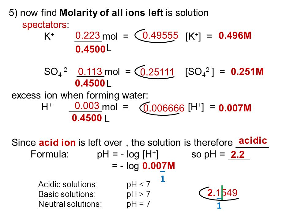 _1_1 5) now find Molarity of all ions left is solution spectators: K + _____mol = [K + ] = L SO 4 2- _____mol = [SO 4 2- ] = L excess ion when forming