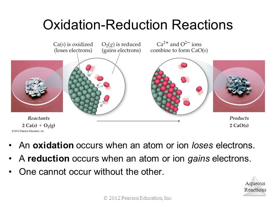 Aqueous Reactions © 2012 Pearson Education, Inc. Oxidation-Reduction Reactions An oxidation occurs when an atom or ion loses electrons. A reduction oc