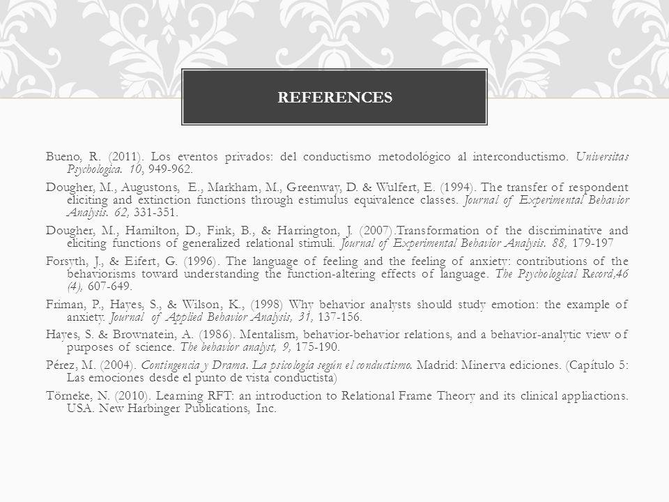 Bueno, R. (2011). Los eventos privados: del conductismo metodológico al interconductismo.