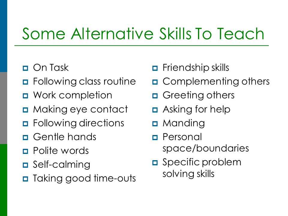 A Simple Example of layered reinforcement  Behavior=Talking out in class  Present Reinforcer=Attention  Prosocial Skills=Raising hand to obtain attention
