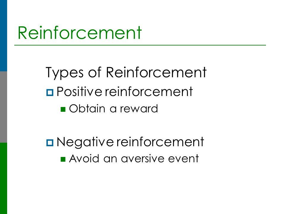 Reinforcement Types of Reinforcement  Positive reinforcement Obtain a reward  Negative reinforcement Avoid an aversive event