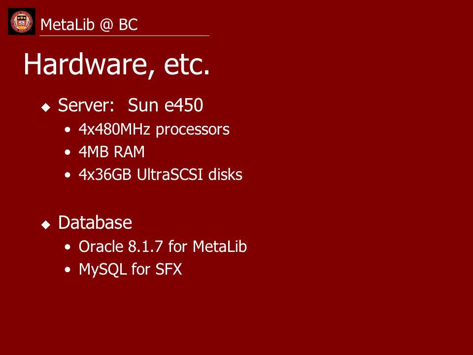 MetaLib Demo u Interface changes u Customization options u Searching u SFX linking MetaLib Management Interface MetaQuest at BC MetaLib @ BC